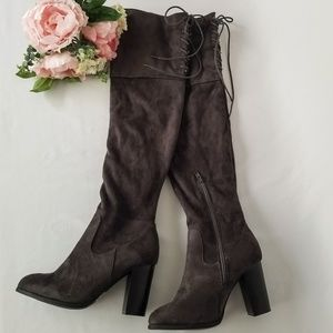 Qupid Gray Suede Over the Knee Boots